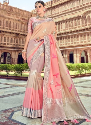 Embroidered Silk Designer Traditional Saree in Beige and Pink