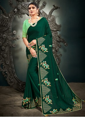 Embroidered Silk Designer Traditional Saree in Green