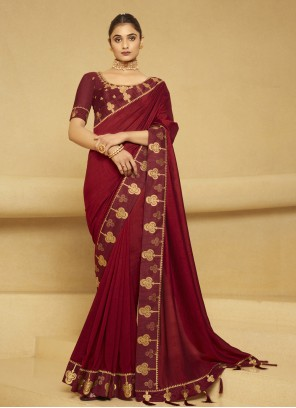 Embroidered Silk Designer Traditional Saree in Maroon