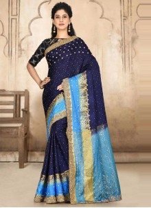Embroidered Silk Designer Traditional Saree in Navy Blue