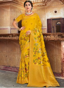 Embroidered Silk Designer Traditional Saree in Yellow