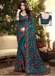 Embroidered Silk Firozi Designer Saree