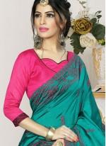 Embroidered Silk Firozi Trendy Saree
