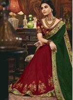 Embroidered Silk Green and Maroon Designer Half N Half Saree