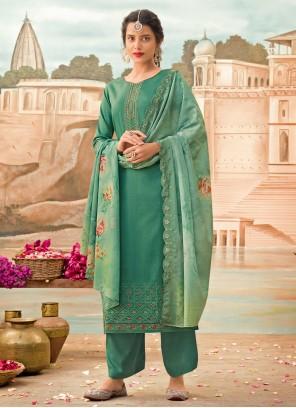 Embroidered Silk Green Designer Pakistani Salwar Suit
