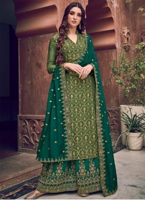 Embroidered Silk Green Designer Salwar Kameez