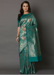 Embroidered Silk Green Designer Saree
