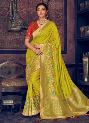 Embroidered Silk Chartreuse Color Saree