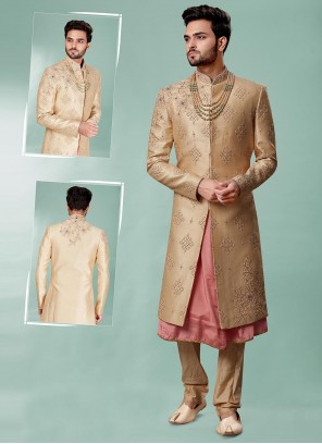 Embroidered Silk Indo Western Sherwani in Gold and Pink