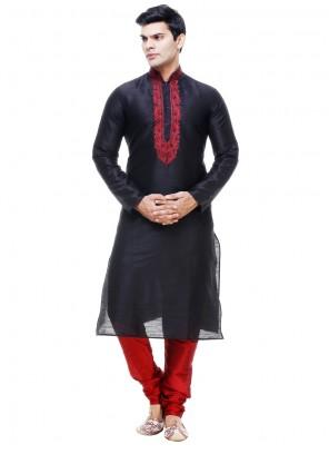 Embroidered Silk Kurta Pyjama in Black