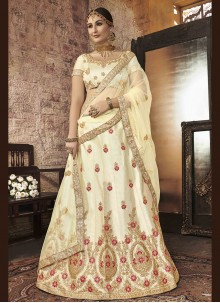Beige Embroidered Silk Lehenga Choli