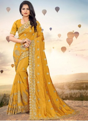 Embroidered Silk Mustard Classic Designer Saree