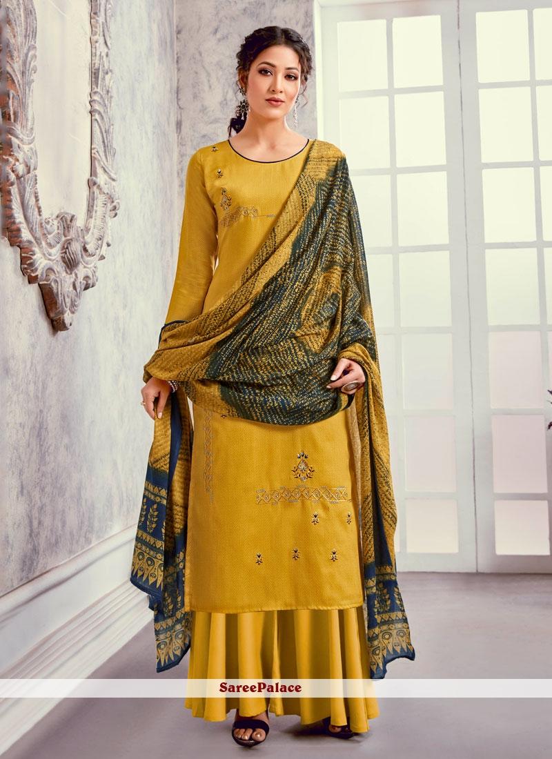 Embroidered Silk Mustard Designer Suit