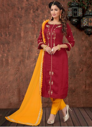 Embroidered Silk Maroon Pant Style Suit