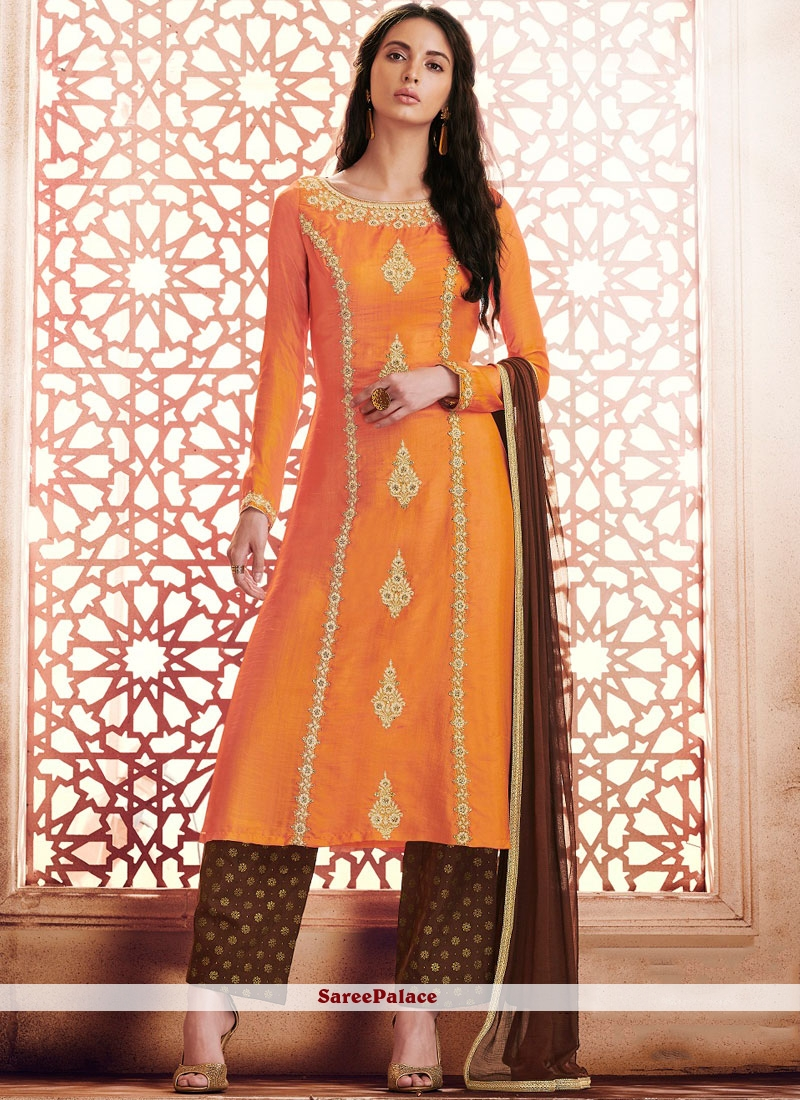 Embroidered Silk Pant Style Suit in Orange