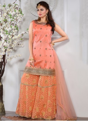 Embroidered Silk Peach Palazzo Suit