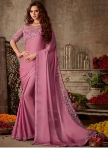 Embroidered Silk Pink Trendy Saree