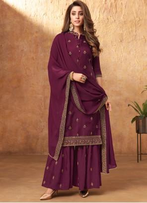 Embroidered Silk Purple Designer Pakistani Suit