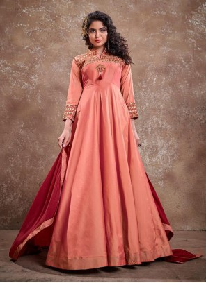 Embroidered Silk Readymade Anarkali Suit in Peach