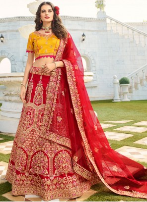 Embroidered Silk Red Trendy A Line Lehenga Choli