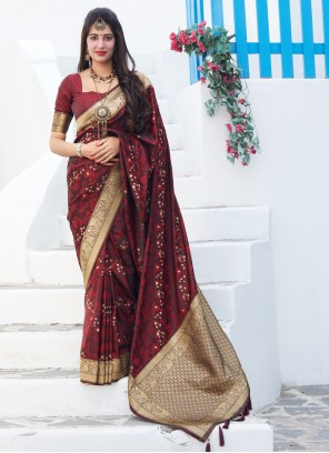 Embroidered Silk Red Trendy Saree
