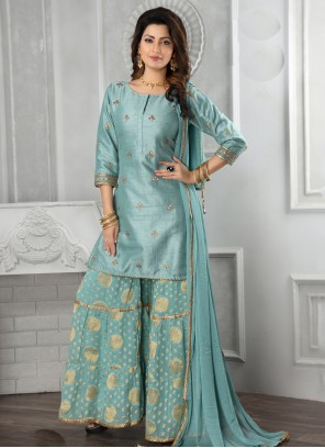 Embroidered Silk Salwar Suit in Aqua Blue