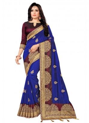 Embroidered Silk Saree