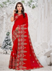 Red Embroidered Silk Saree For Engagement