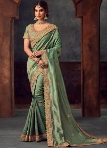 Embroidered Silk Sea Green Classic Saree