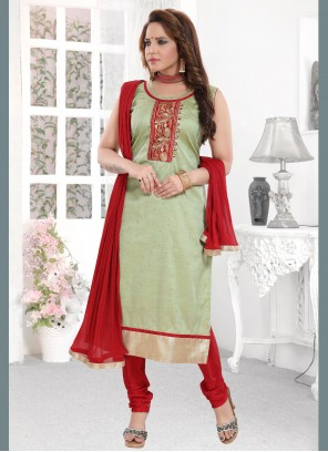 Embroidered Silk Sea Green Readymade Suit
