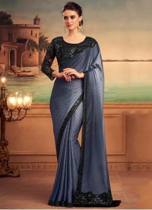 Embroidered Silk Shaded Black Saree