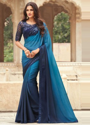 Embroidered Silk Shaded Saree in Blue