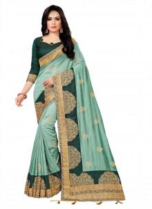 Embroidered Silk Teal Silk Saree