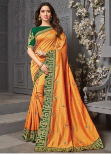 Embroidered Silk Yellow Traditional Saree