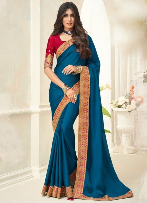 Embroidered Turquoise Silk Traditional Saree