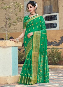 Embroidered Silk Traditional Saree in Green