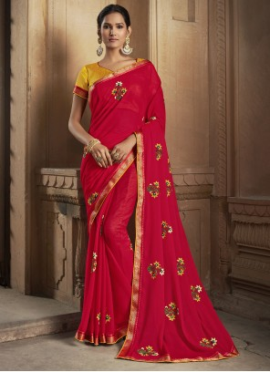Embroidered Silk Traditional Saree in Magenta