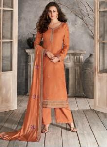 Embroidered Silk Trendy Salwar Kameez in Peach