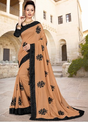 Embroidered Brown Silk Trendy Saree