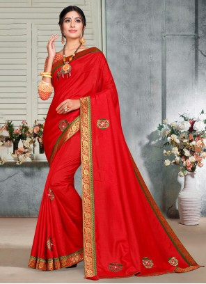 Embroidered Silk Trendy Red Saree