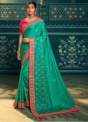 Embroidered Silk Trendy Saree in Green