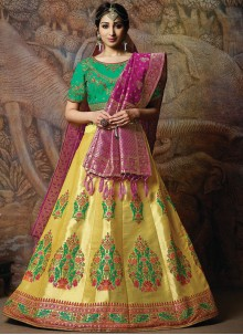 Embroidered Silk Yellow Designer Lehenga Choli