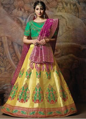 Embroidered Silk Yellow Designer Lehenga Choli