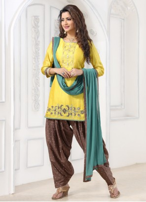 Embroidered Silk Yellow Salwar Suit
