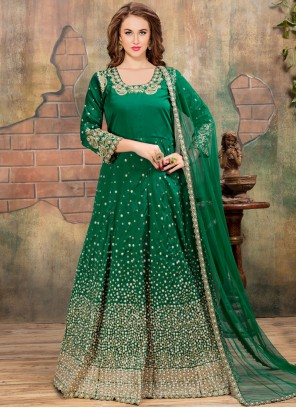 Embroidered Tafeta silk Anarkali Suit