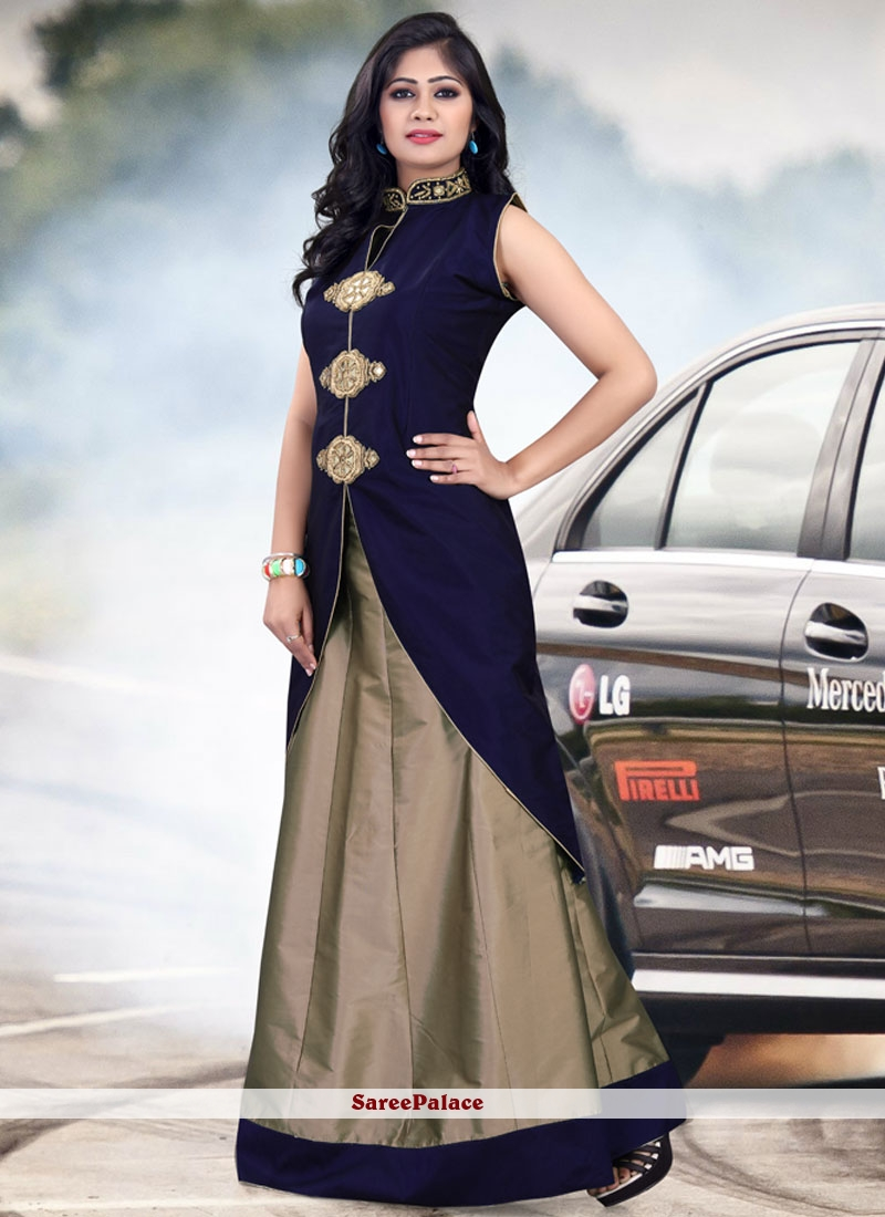 Embroidered Tafeta silk Lehenga Choli in Navy Blue