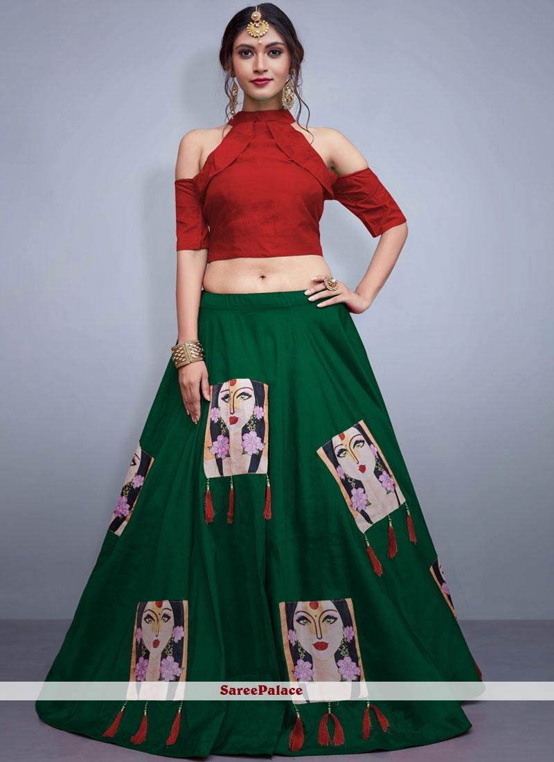 Green Embroidered Tafeta Silk Readymade Lehenga Choli
