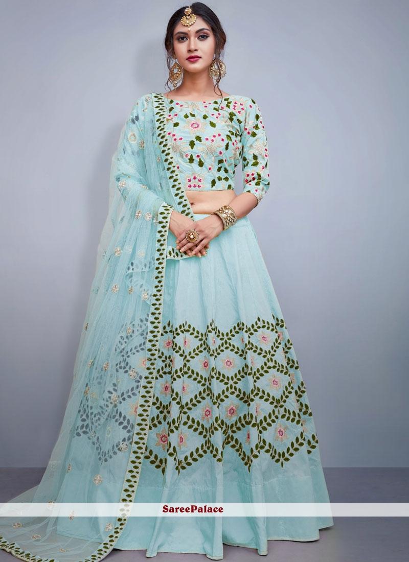 Blue Embroidered Tafeta Silk Readymade Lehenga Choli