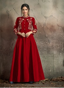 Embroidered Tafeta Silk Red Designer Gown