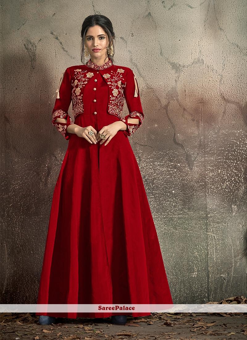 Embroidered Tafeta Silk Red Designer Gown